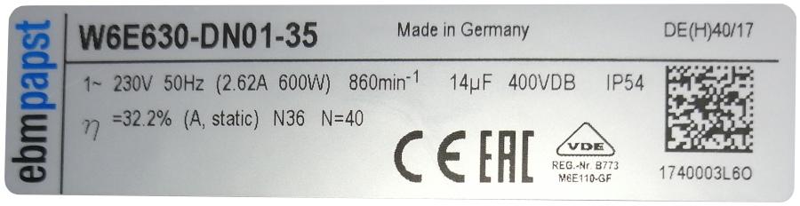 Oznaczenie wentylatora kominowego do budynku inwentarskiego